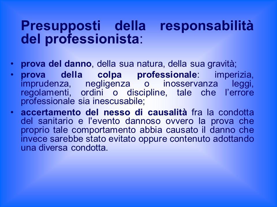 Presupposti della responsabilità del professionista: prova del danno, della sua natura, della sua gravità; prova della colpa professionale: imperizia,