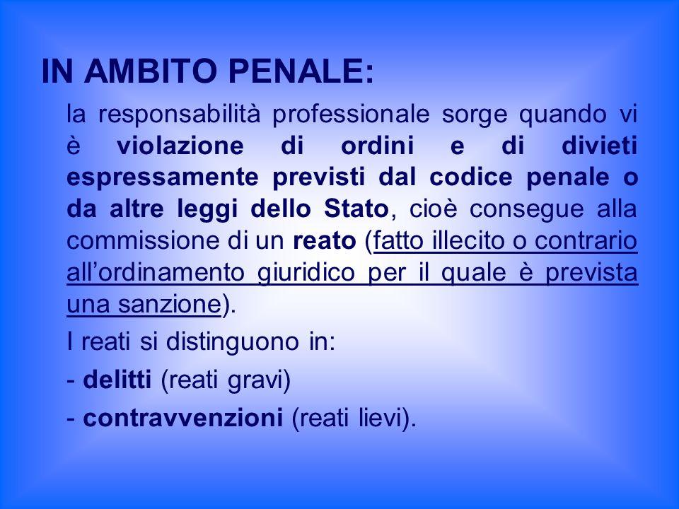 IN AMBITO PENALE: la responsabilità professionale sorge quando vi è violazione di ordini e di divieti espressamente previsti dal codice penale o da al