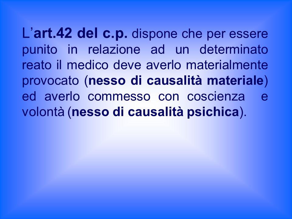 Lart.42 del c.p. dispone che per essere punito in relazione ad un determinato reato il medico deve averlo materialmente provocato (nesso di causalità