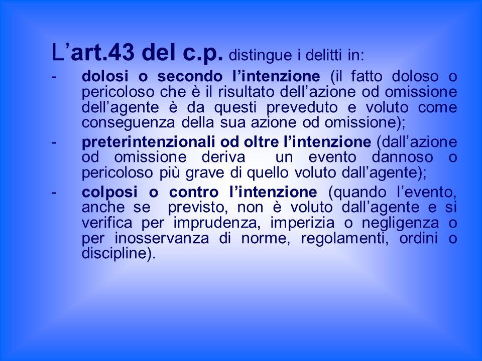 Lart.43 del c.p. distingue i delitti in: - dolosi o secondo lintenzione (il fatto doloso o pericoloso che è il risultato dellazione od omissione della