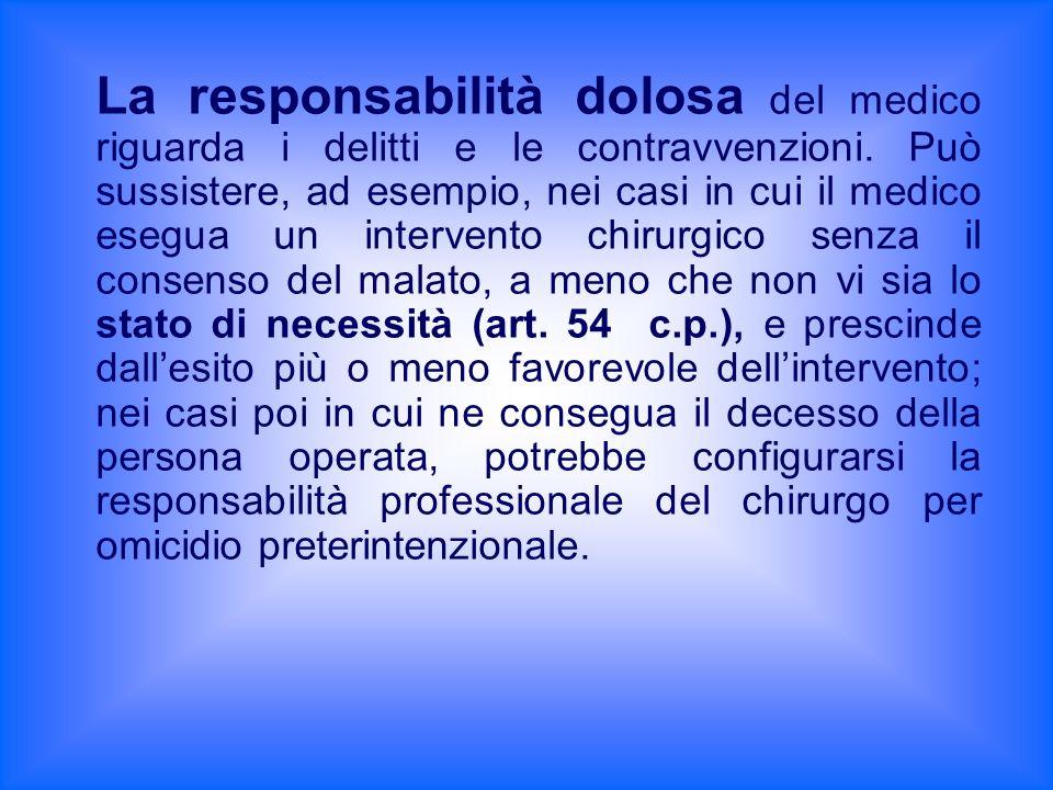 La responsabilità dolosa del medico riguarda i delitti e le contravvenzioni. Può sussistere, ad esempio, nei casi in cui il medico esegua un intervent