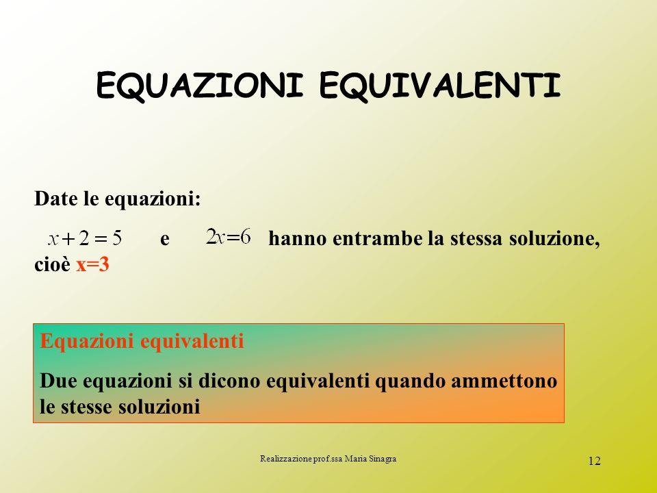 Realizzazione prof.ssa Maria Sinagra 11 2) In base alle soluzioni che ammette: lequazione è determinata se ammette un numero finito di soluzioni lequa