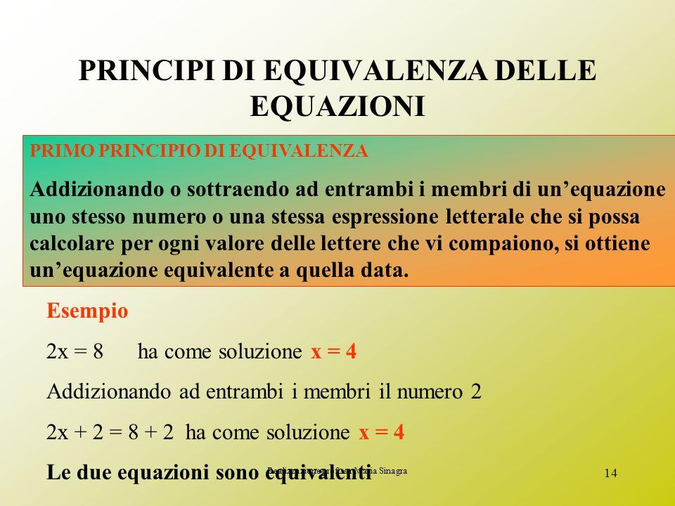 Realizzazione prof.ssa Maria Sinagra 13 Dire se le seguenti coppie di equazioni sono equivalenti: