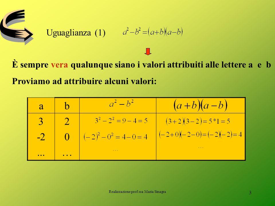 Realizzazione prof.ssa Maria Sinagra 2 LE IDENTITA Cosa hanno in comune le seguenti uguaglianze?