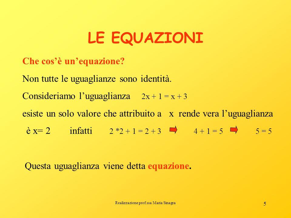 Realizzazione prof.ssa Maria Sinagra 4 Lo stesso vale per le uguaglianze (2) 2a = a + a (3) Prova a verificarlo! IDENTITA Si dice identità unuguaglian