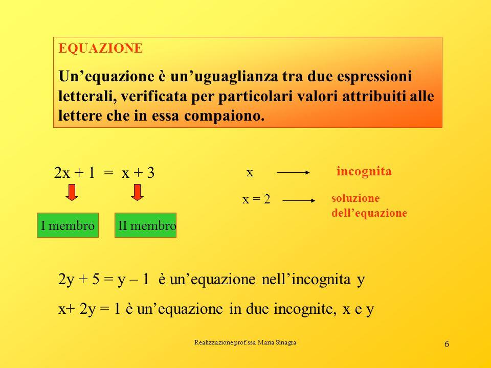 Realizzazione prof.ssa Maria Sinagra 5 LE EQUAZIONI Che cosè unequazione? Non tutte le uguaglianze sono identità. Consideriamo luguaglianza 2x + 1 = x