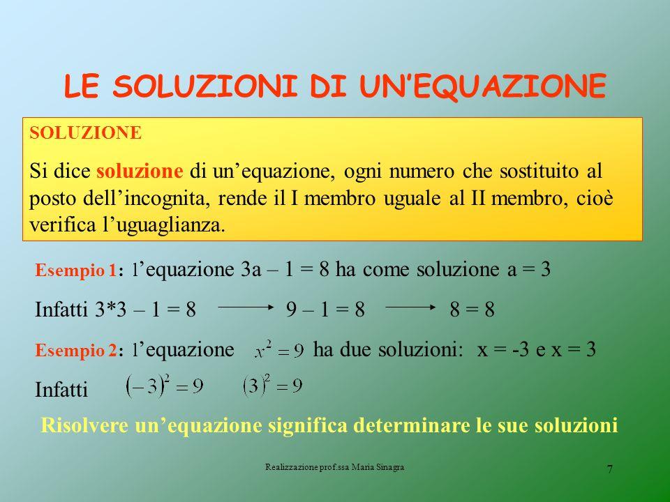 Realizzazione prof.ssa Maria Sinagra 6 EQUAZIONE Unequazione è unuguaglianza tra due espressioni letterali, verificata per particolari valori attribui