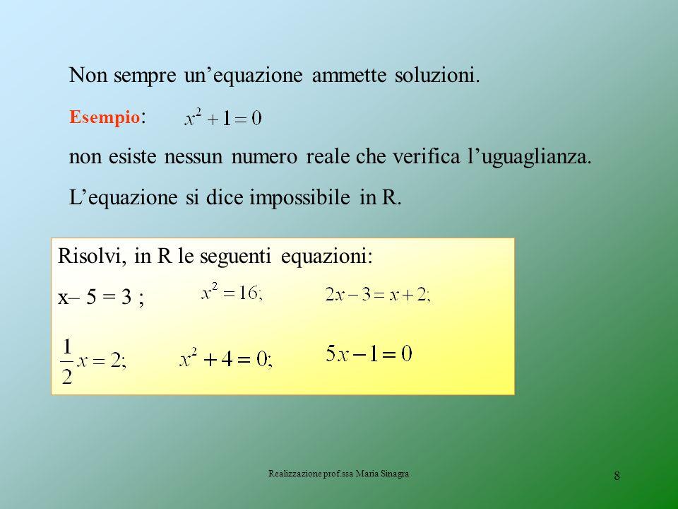 Realizzazione prof.ssa Maria Sinagra 7 LE SOLUZIONI DI UNEQUAZIONE SOLUZIONE Si dice soluzione di unequazione, ogni numero che sostituito al posto del