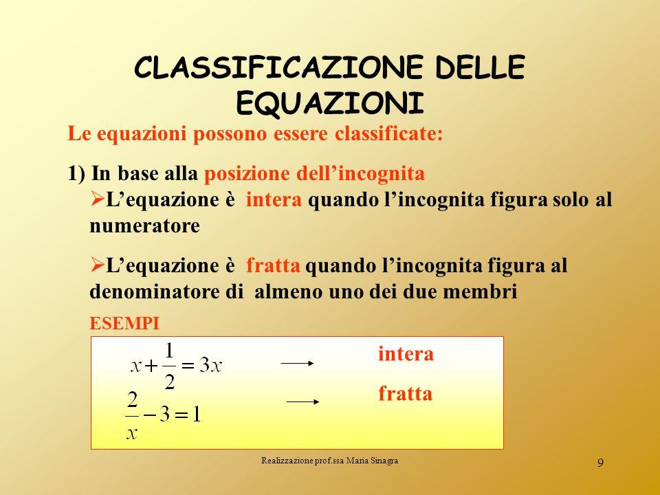 Realizzazione prof.ssa Maria Sinagra 8 Non sempre unequazione ammette soluzioni. Esempio : non esiste nessun numero reale che verifica luguaglianza. L