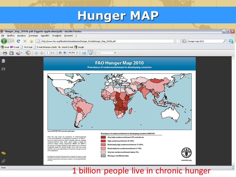 Hunger MAP 1 billion people live in chronic hunger