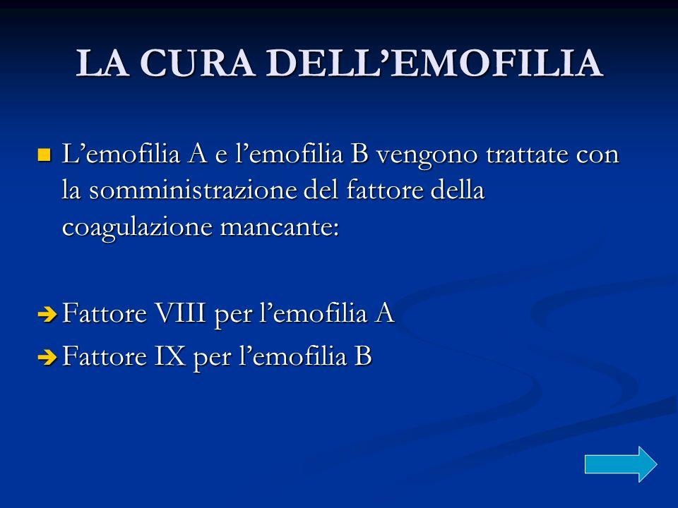 LA CURA DELLEMOFILIA Lemofilia A e lemofilia B vengono trattate con la somministrazione del fattore della coagulazione mancante: Lemofilia A e lemofil