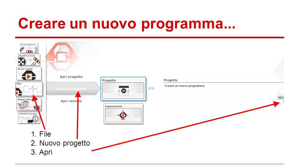 Creare un nuovo programma... 1. File 2. Nuovo progetto 3. Apri