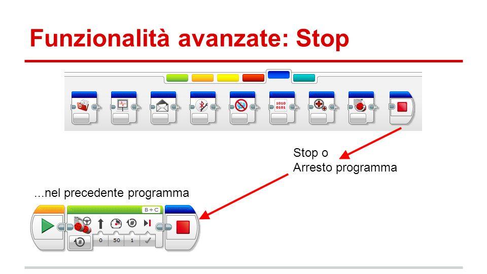 Funzionalità avanzate: Stop Stop o Arresto programma...nel precedente programma
