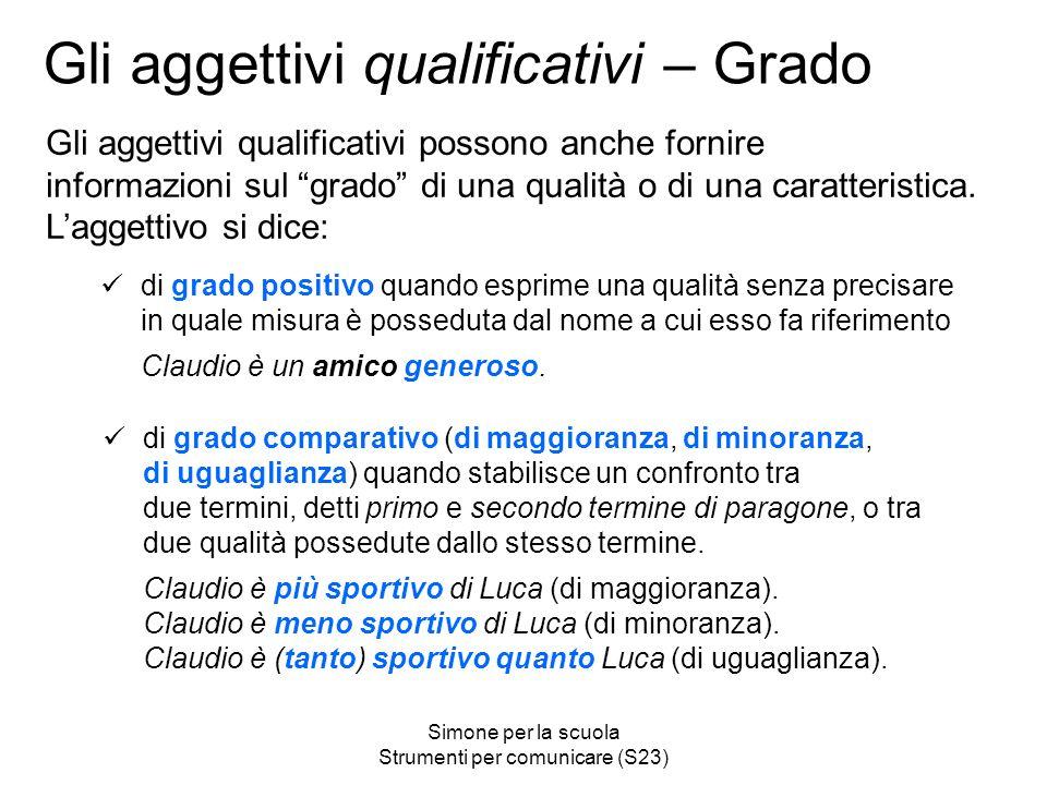 Simone per la scuola Strumenti per comunicare (S23) Gli aggettivi qualificativi – Grado Gli aggettivi qualificativi possono anche fornire informazioni sul grado di una qualità o di una caratteristica.