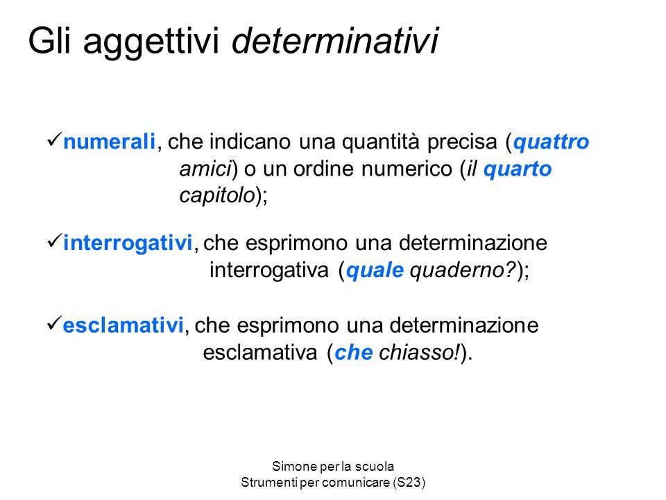 Simone per la scuola Strumenti per comunicare (S23) Gli aggettivi determinativi esclamativi, che esprimono una determinazione esclamativa (che chiasso!).