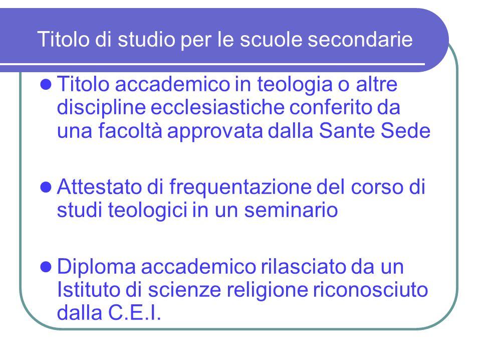Titolo di studio per le scuole secondarie Titolo accademico in teologia o altre discipline ecclesiastiche conferito da una facoltà approvata dalla San