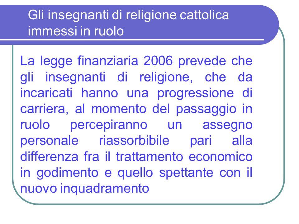 Gli insegnanti di religione cattolica immessi in ruolo La legge finanziaria 2006 prevede che gli insegnanti di religione, che da incaricati hanno una