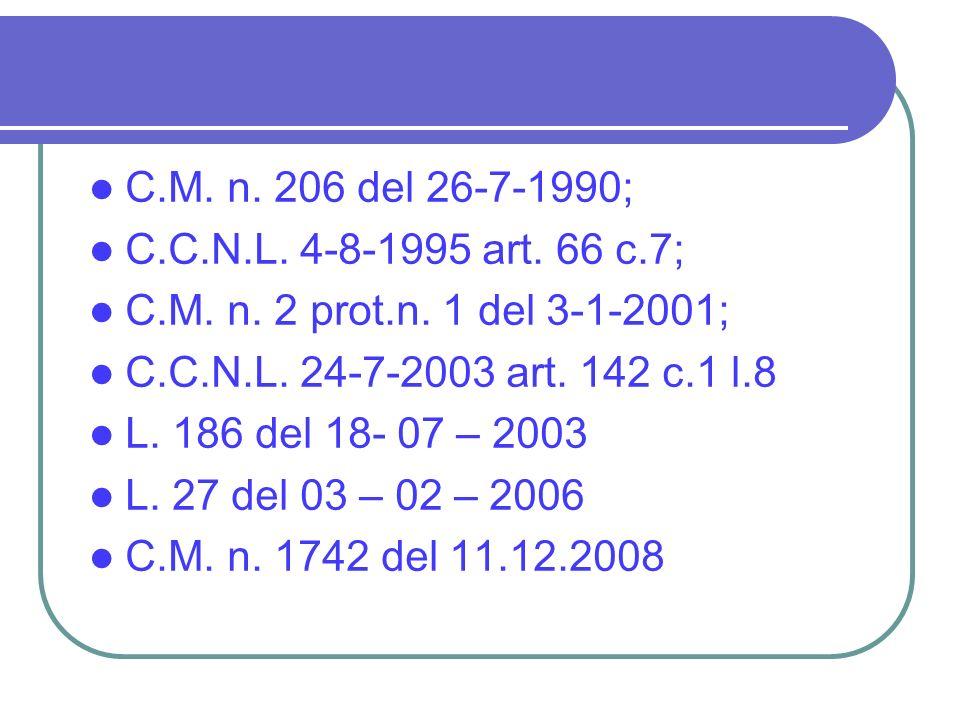 C.M. n. 206 del 26-7-1990; C.C.N.L. 4-8-1995 art. 66 c.7; C.M. n. 2 prot.n. 1 del 3-1-2001; C.C.N.L. 24-7-2003 art. 142 c.1 l.8 L. 186 del 18- 07 – 20