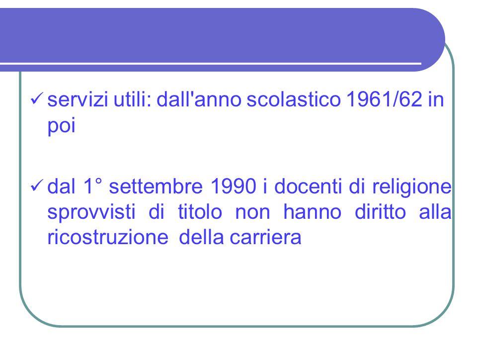 servizi utili: dall'anno scolastico 1961/62 in poi dal 1° settembre 1990 i docenti di religione sprovvisti di titolo non hanno diritto alla ricostruzi