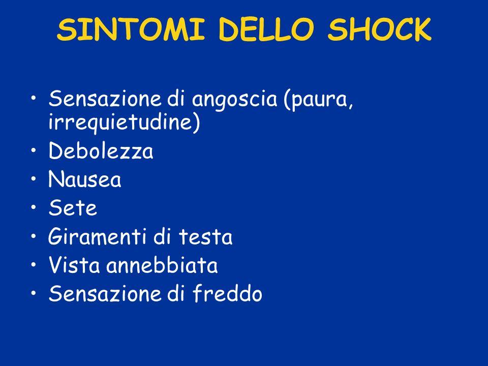 SINTOMI DELLO SHOCK Sensazione di angoscia (paura, irrequietudine) Debolezza Nausea Sete Giramenti di testa Vista annebbiata Sensazione di freddo