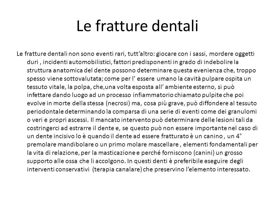 Le fratture dentali Le fratture dentali non sono eventi rari, tuttaltro: giocare con i sassi, mordere oggetti duri, incidenti automobilistici, fattori