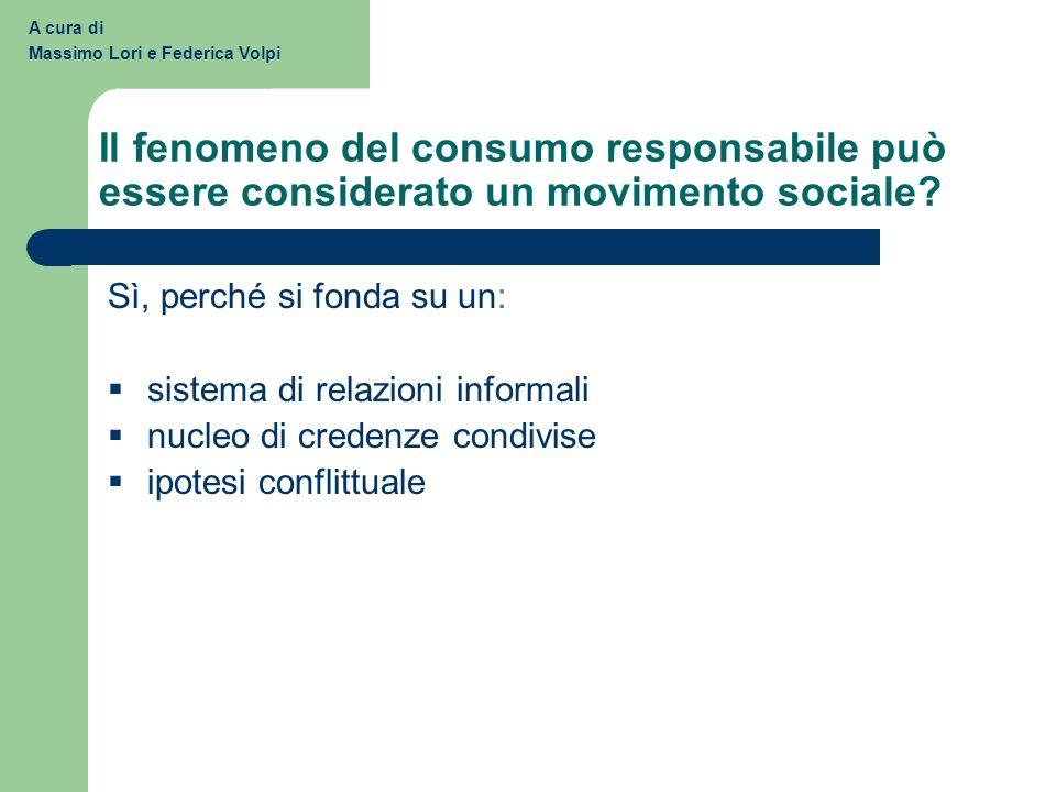 Il fenomeno del consumo responsabile può essere considerato un movimento sociale? A cura di Massimo Lori e Federica Volpi Sì, perché si fonda su un: s