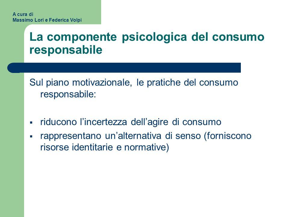 La componente psicologica del consumo responsabile Sul piano motivazionale, le pratiche del consumo responsabile: riducono lincertezza dellagire di co