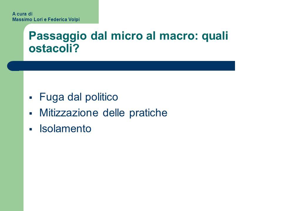 Passaggio dal micro al macro: quali ostacoli? Fuga dal politico Mitizzazione delle pratiche Isolamento A cura di Massimo Lori e Federica Volpi
