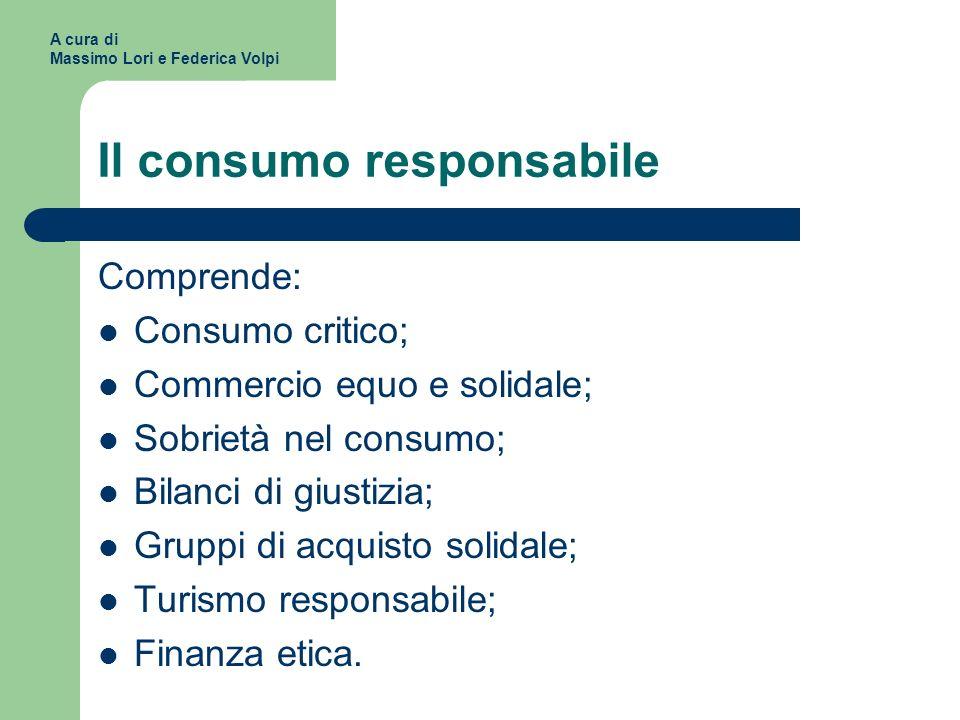 Il consumo responsabile Comprende: Consumo critico; Commercio equo e solidale; Sobrietà nel consumo; Bilanci di giustizia; Gruppi di acquisto solidale; Turismo responsabile; Finanza etica.