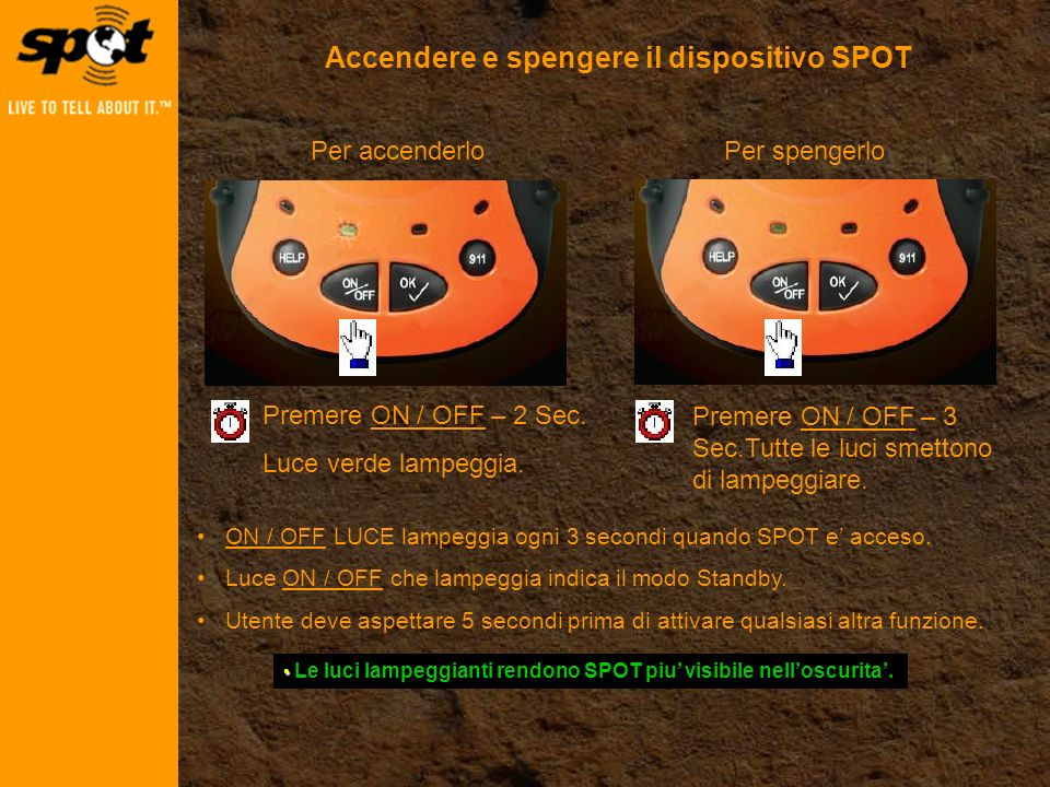 Premere ON / OFF – 2 Sec.Luce verde lampeggia.