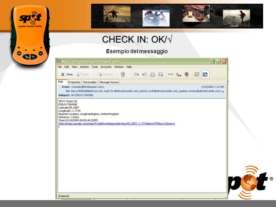CHECK IN: OK/ Esempio del messaggio