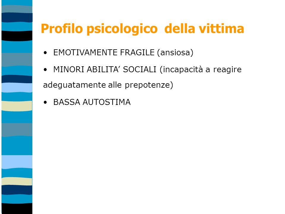 Profilo psicologico della vittima EMOTIVAMENTE FRAGILE (ansiosa) MINORI ABILITA SOCIALI (incapacità a reagire adeguatamente alle prepotenze) BASSA AUTOSTIMA