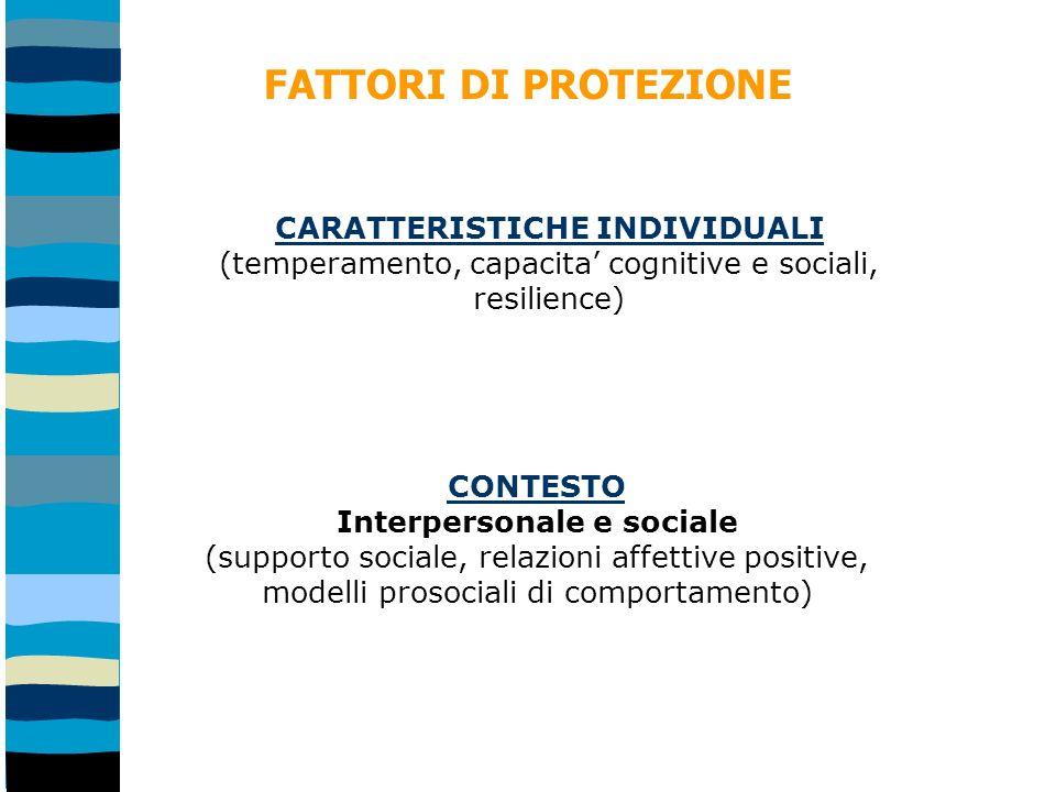 CONTESTO Interpersonale e sociale (supporto sociale, relazioni affettive positive, modelli prosociali di comportamento) FATTORI DI PROTEZIONE CARATTERISTICHE INDIVIDUALI (temperamento, capacita cognitive e sociali, resilience)