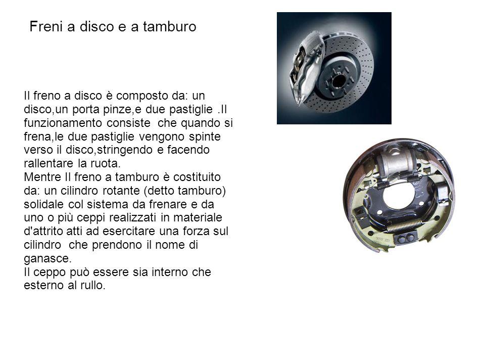 Freni a disco e a tamburo Il freno a disco è composto da: un disco,un porta pinze,e due pastiglie.Il funzionamento consiste che quando si frena,le due