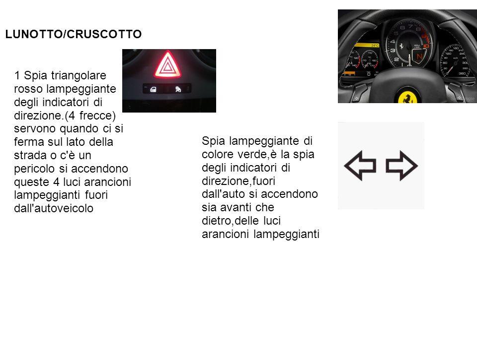 LUNOTTO/CRUSCOTTO 1 Spia triangolare rosso lampeggiante degli indicatori di direzione.(4 frecce) servono quando ci si ferma sul lato della strada o c'