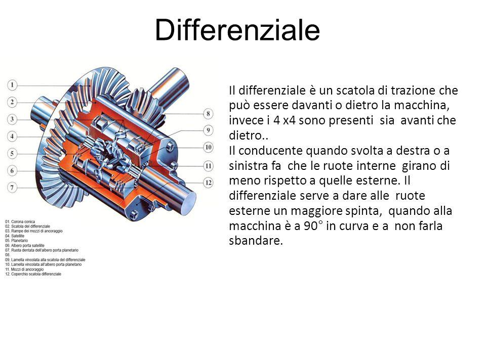 Differenziale Il differenziale è un scatola di trazione che può essere davanti o dietro la macchina, invece i 4 x4 sono presenti sia avanti che dietro