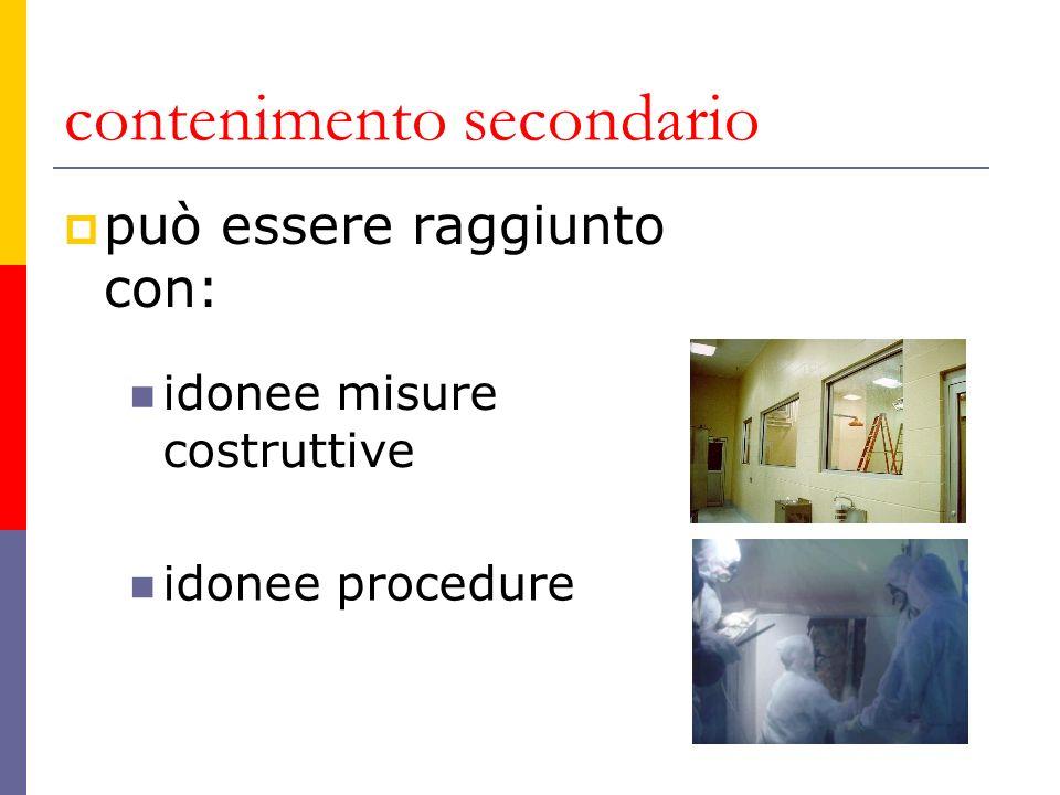 contenimento secondario può essere raggiunto con: idonee misure costruttive idonee procedure