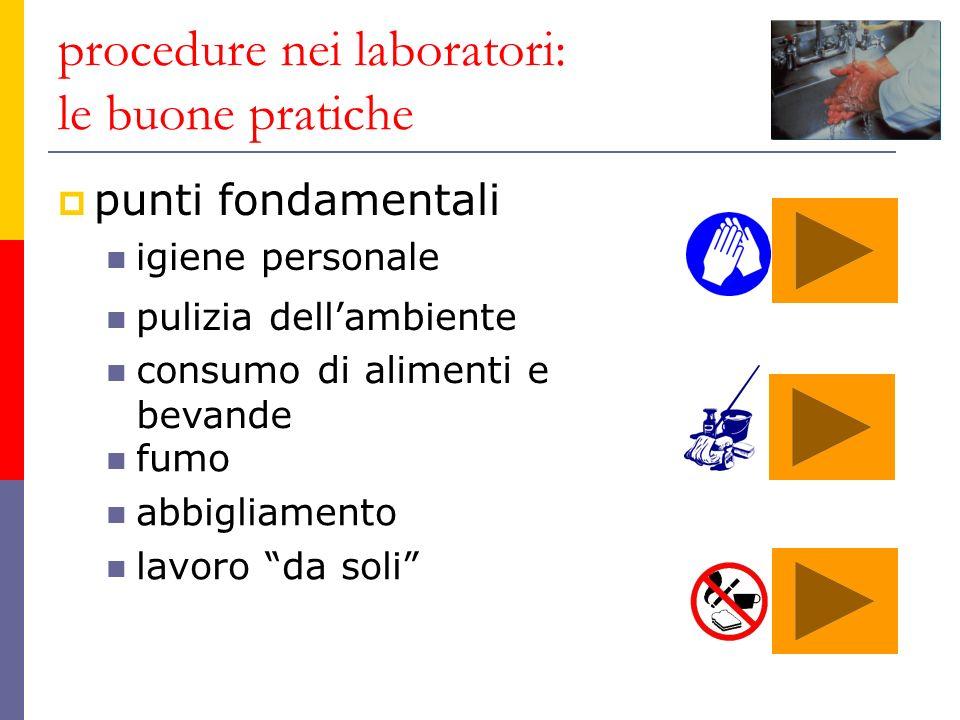 procedure nei laboratori: le buone pratiche punti fondamentali igiene personale pulizia dellambiente consumo di alimenti e bevande fumo abbigliamento