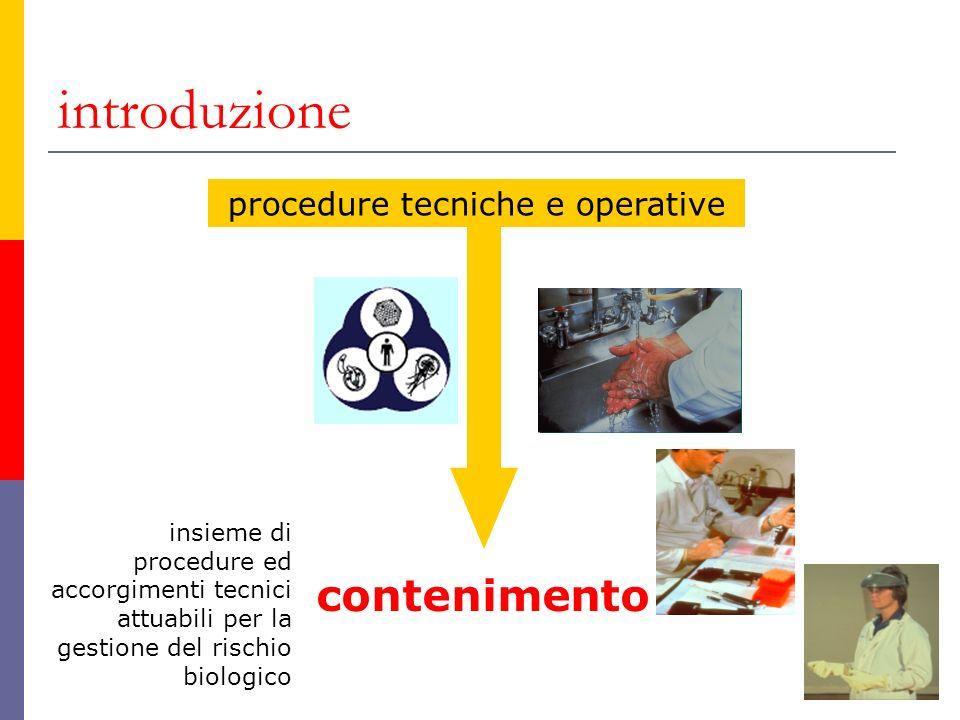 introduzione procedure tecniche e operative contenimento insieme di procedure ed accorgimenti tecnici attuabili per la gestione del rischio biologico