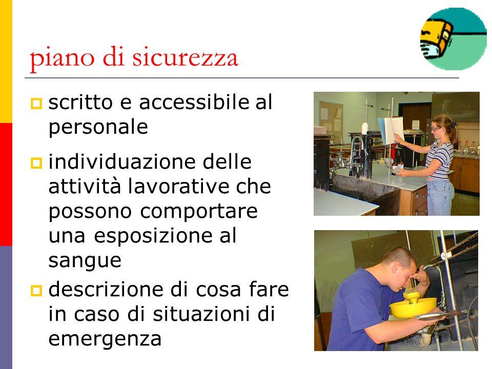 piano di sicurezza scritto e accessibile al personale individuazione delle attività lavorative che possono comportare una esposizione al sangue descri