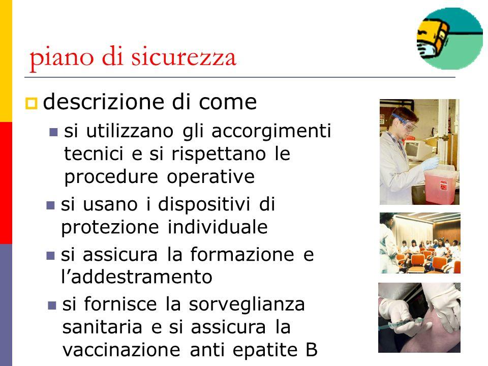 piano di sicurezza descrizione di come si utilizzano gli accorgimenti tecnici e si rispettano le procedure operative si usano i dispositivi di protezi