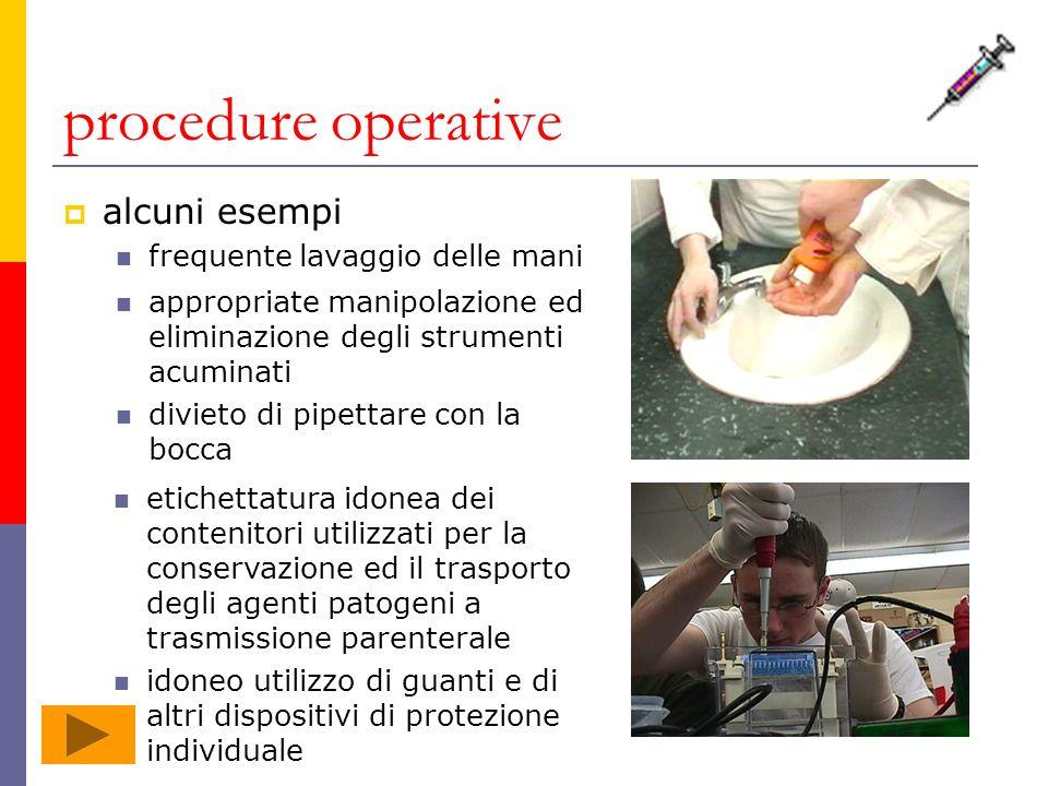 procedure operative alcuni esempi frequente lavaggio delle mani appropriate manipolazione ed eliminazione degli strumenti acuminati divieto di pipetta