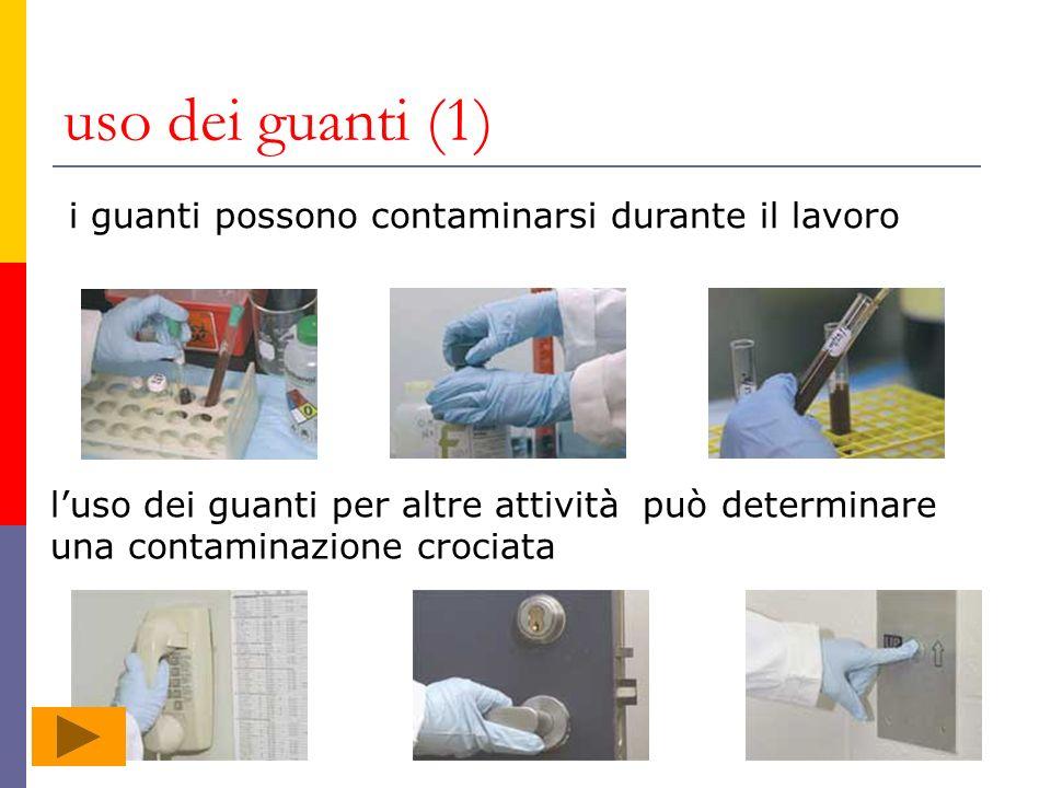 uso dei guanti (1) i guanti possono contaminarsi durante il lavoro luso dei guanti per altre attività può determinare una contaminazione crociata