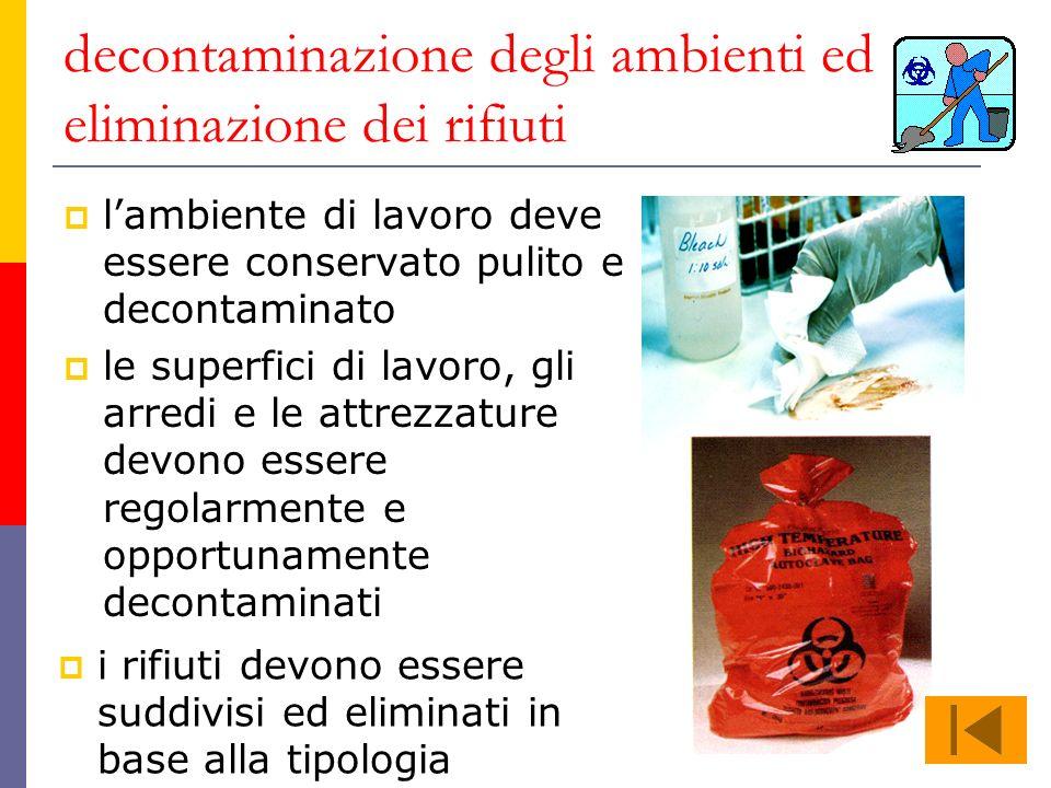 decontaminazione degli ambienti ed eliminazione dei rifiuti lambiente di lavoro deve essere conservato pulito e decontaminato le superfici di lavoro,