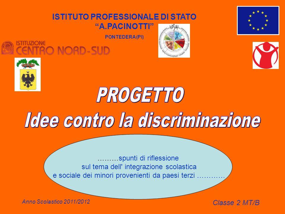 ISTITUTO PROFESSIONALE DI STATO A.PACINOTTI PONTEDERA (PI) Anno Scolastico 2011/2012 Classe 2 MT/B ………spunti di riflessione sul tema dell' integrazion