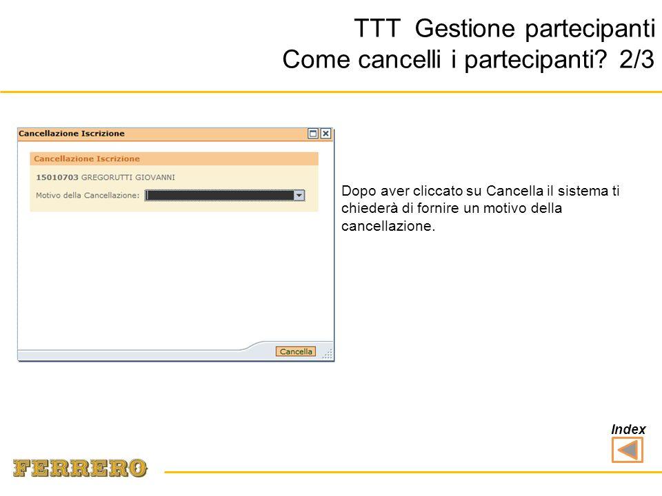 TTT Gestione partecipanti Come cancelli i partecipanti.