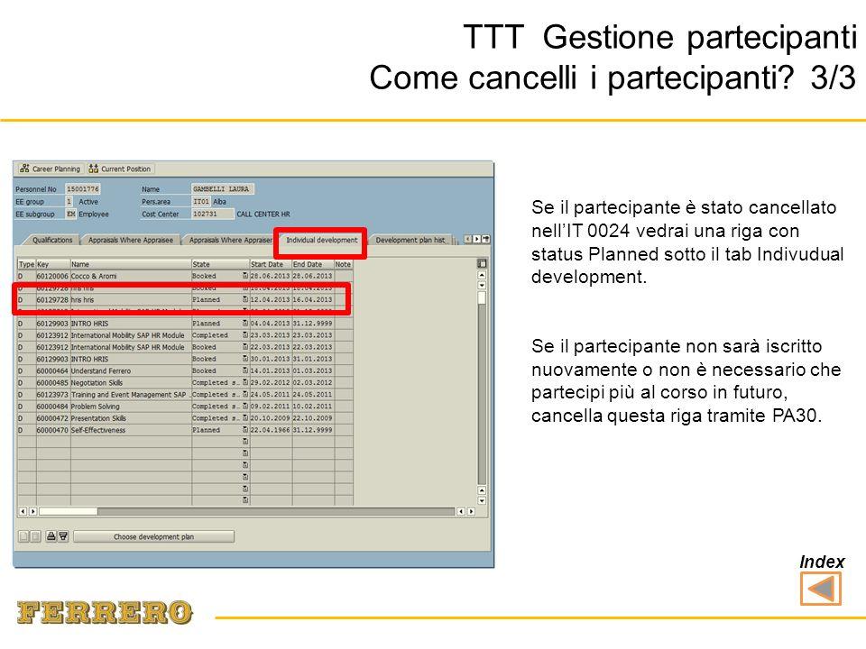 Se il partecipante è stato cancellato nellIT 0024 vedrai una riga con status Planned sotto il tab Indivudual development.