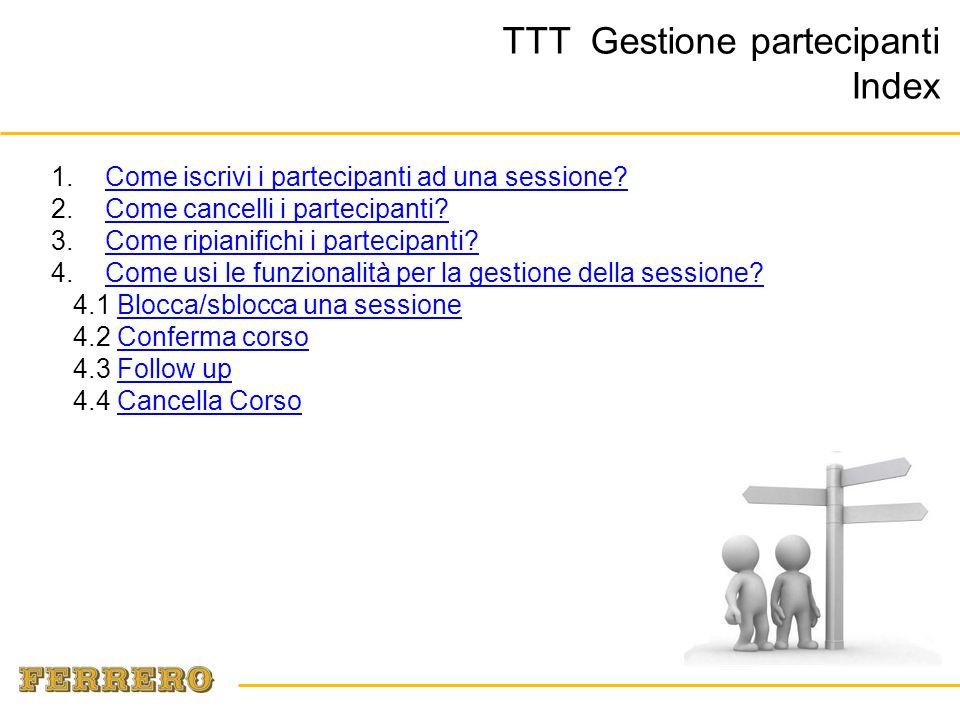 TTT Gestione partecipanti Index 1.Come iscrivi i partecipanti ad una sessione?Come iscrivi i partecipanti ad una sessione.