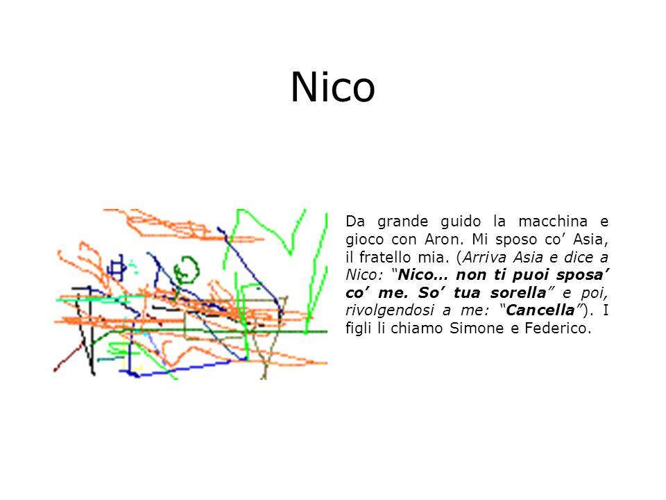 Nico Da grande guido la macchina e gioco con Aron. Mi sposo co Asia, il fratello mia. (Arriva Asia e dice a Nico: Nico… non ti puoi sposa co me. So tu