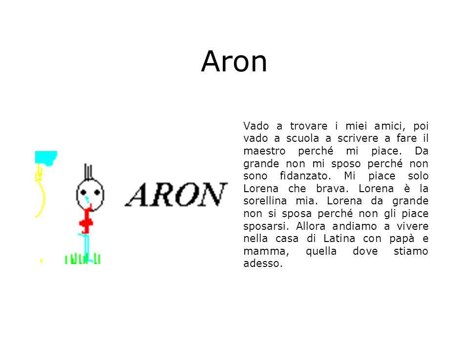 Aron Vado a trovare i miei amici, poi vado a scuola a scrivere a fare il maestro perché mi piace. Da grande non mi sposo perché non sono fidanzato. Mi